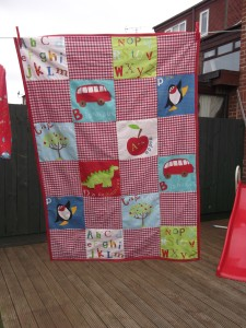 Quilt - front view on the washing line