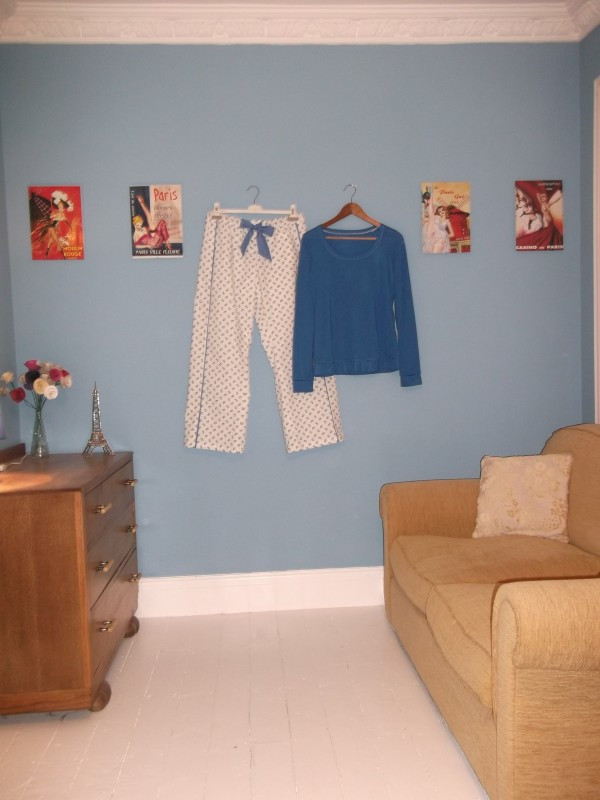 The sofa end of our bedroom with my colour co-ordinated pyjamas!