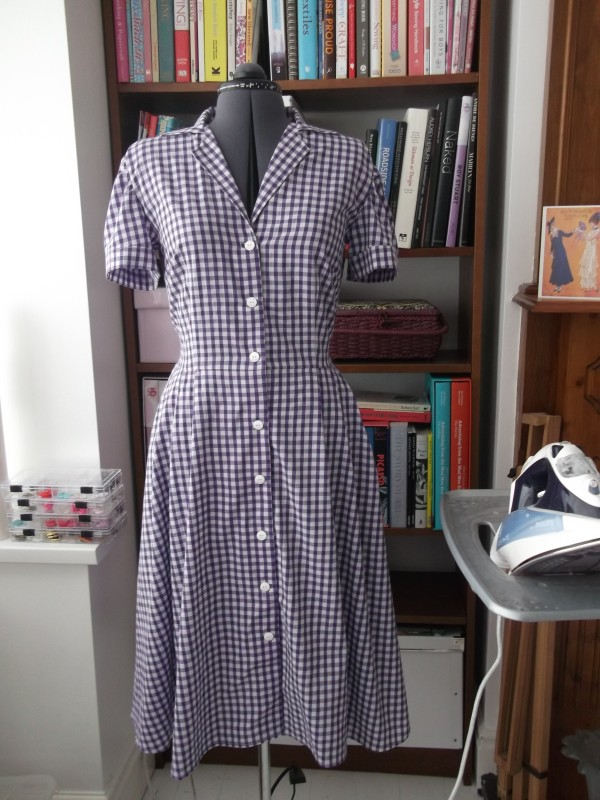 My first Gertie Shirtwaist dress in purple gingham