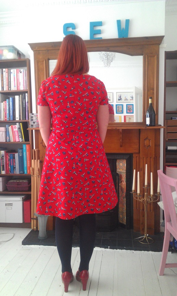 Back view.  The hem isn't actually slanted like that, it's the way I'm standing!