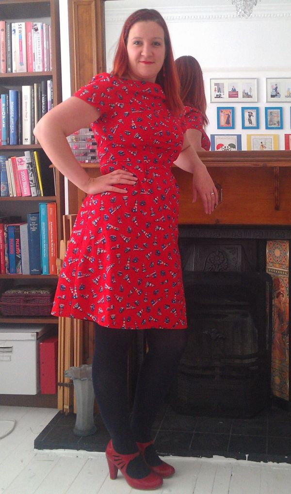 Sort of side view of dress and shoes...