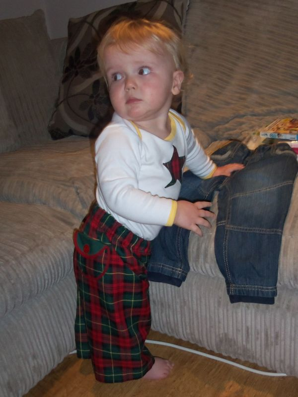 Baba Tweedie's trousers, with matching applique vest.