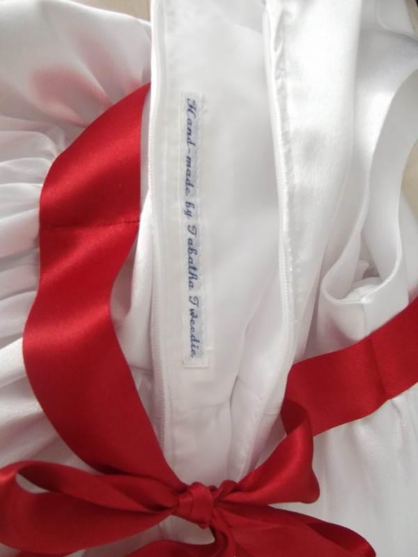 The label - very important!  It had to be backed to prevent it showing through to the right side of the dress!