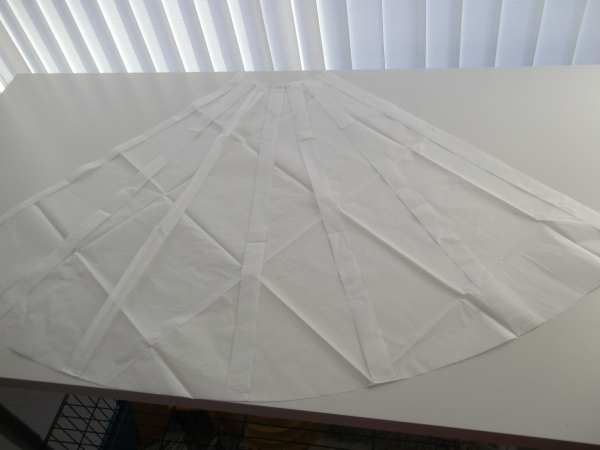 Circle skirt pattern - slashed and spread and filled in!