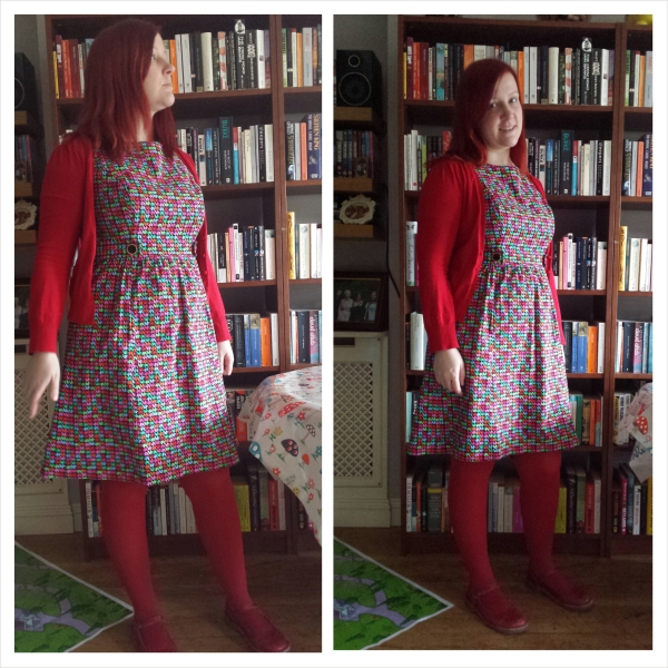 With red cardigan, red tights and red shoes...