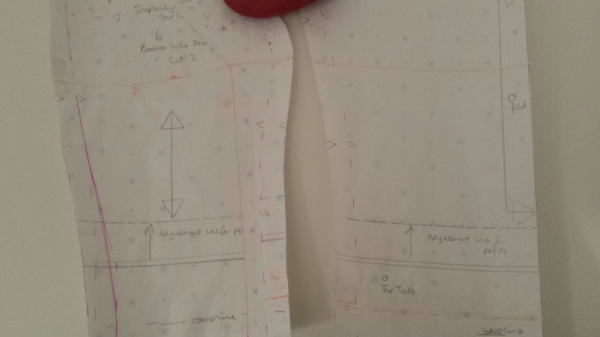 The FBA - adapted bodice front and side front pattern pieces