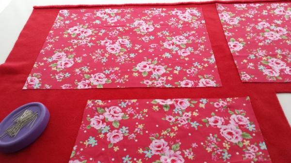 Preparing the fabric and red fleece lining
