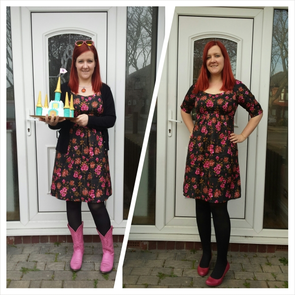 Dress with pink cowboy boots and cake/Dress with pink shoes and no cake