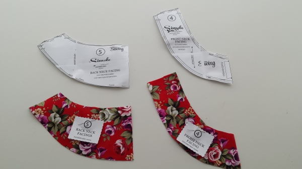 Facings cut from fabric and interfacing, and clearly labelled