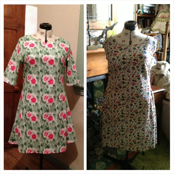 Rachel's two versions - the second one with an adapted neckline and sleeveless