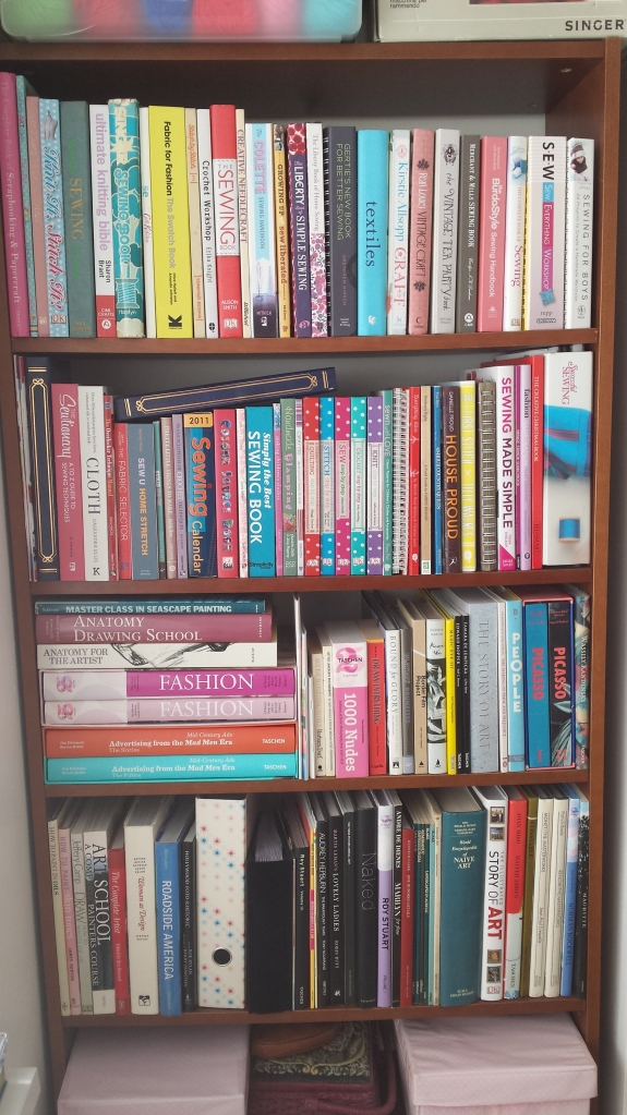 One of nine bookcases in our house - this one for sewing, crafts, photography and art.