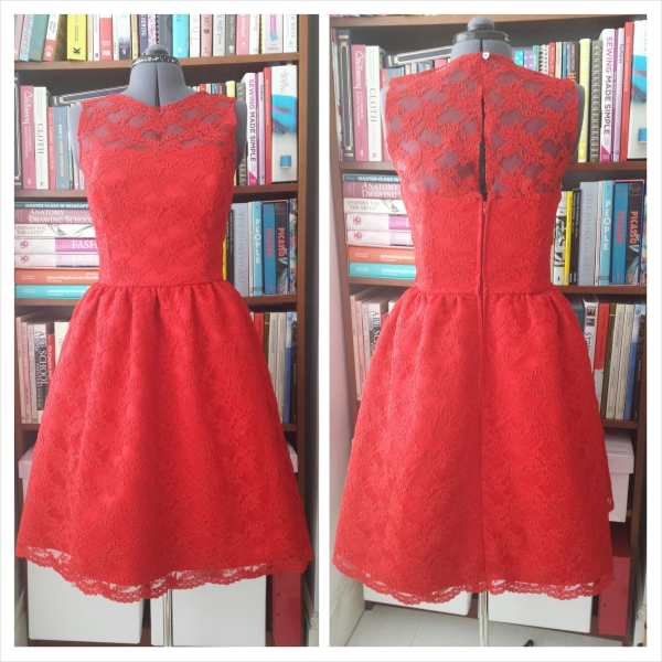 The Red Lace Dress - Front and Back view