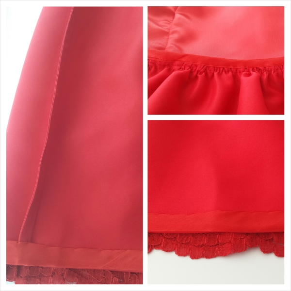 Left: French seamed satin skirt Top right: Bias bound waistline Bottom right: Bias bound hem on the satin skirt