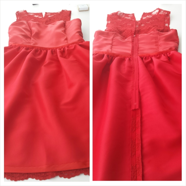 The Red Lace Dress - inside - front and back