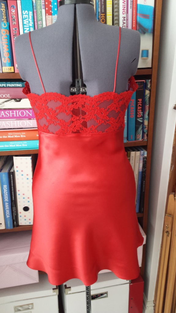 Back view of red lace slip
