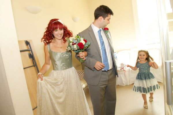 The bride, her brother and the bridesmaid - I love the way the skirt flares out in this photo