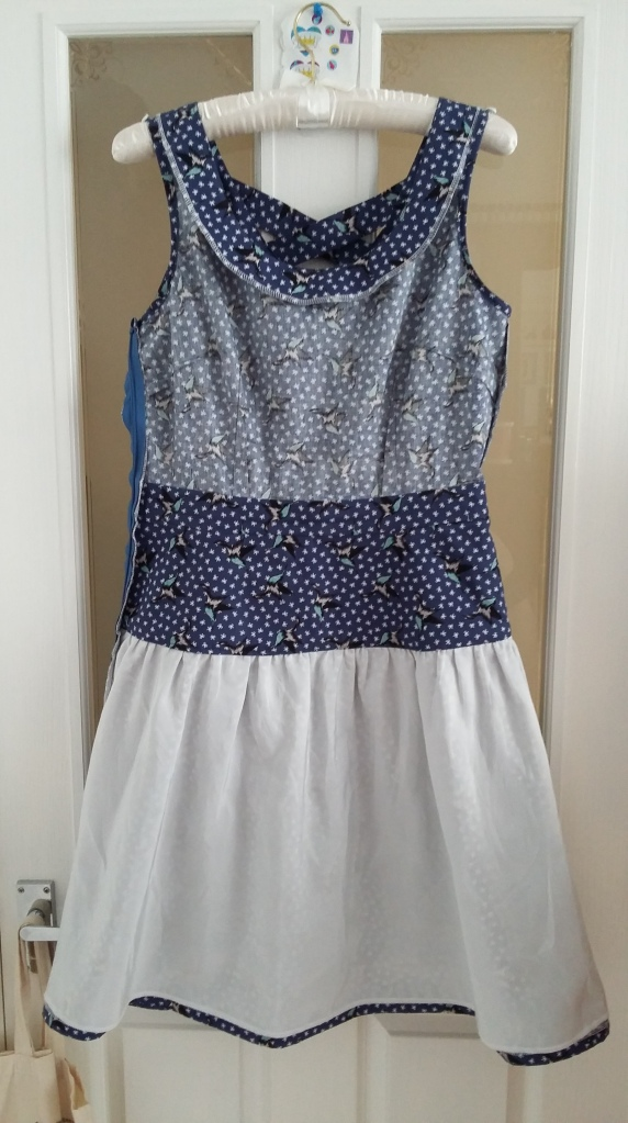 Midriff and yoke interfaced and lined with main fabric, skirt lined with premium viscose lining