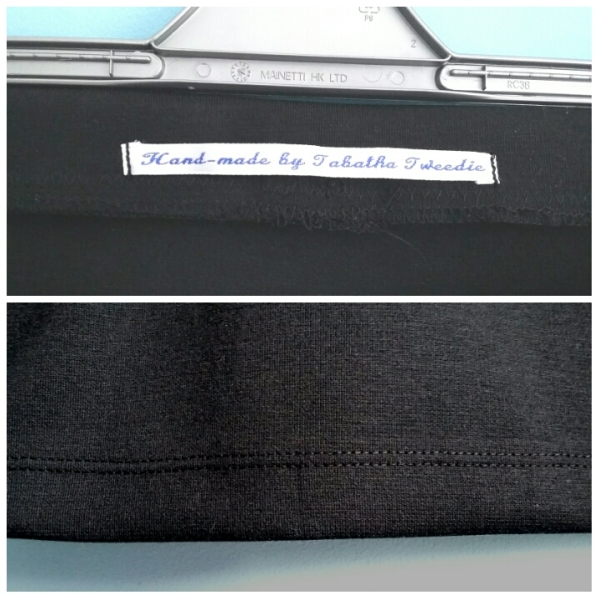A label sewn in the back so I wear it the right way around - and the twin needle hem.