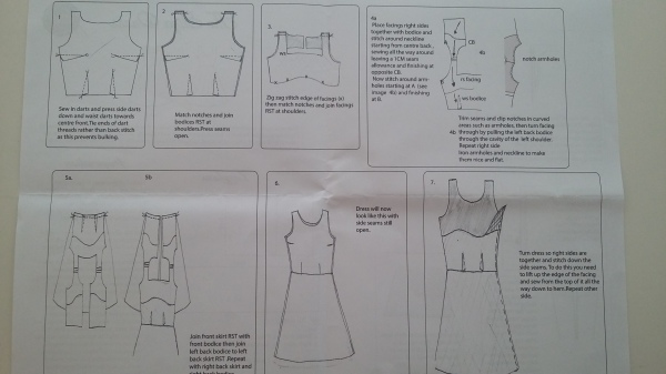 Pattern instructions which tell you to sew non-existent bust darts, and which show a different style of dress in some of the diagrams. Poor.