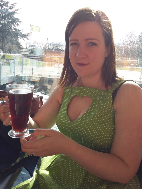 Out for coffee in the sunshine! The Flora dress design is notorious for showing bra straps!