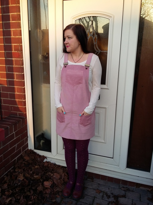 My January Minerva Make - Tilly and the Buttons Cleo dress in pink needlecord